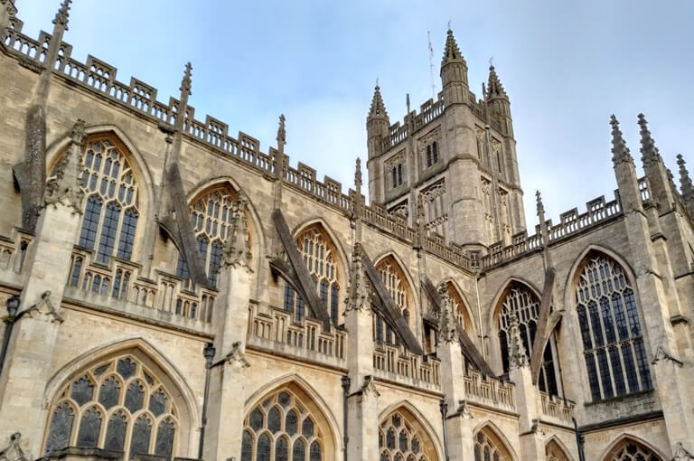 The stunning Bath Abbey in the afternoon sun